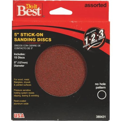 Do-It-Best (DIB_380431) 5in Stick On Sanding Discs Assorted Grits 15pk