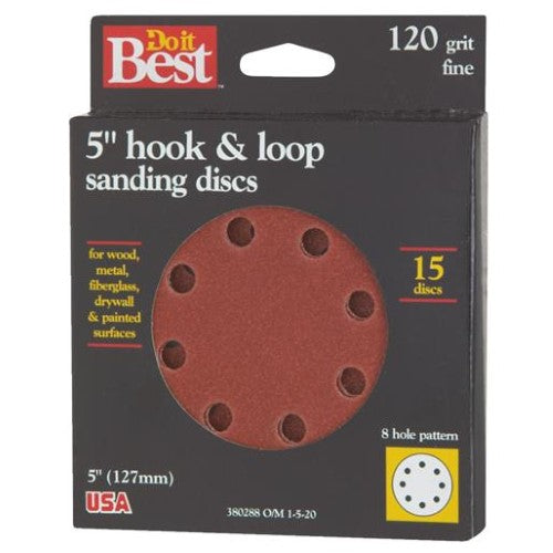 Do-It-Best (DIB_380288) 5in Hook & Loop Sanding Discs 120 Fine 15pk
