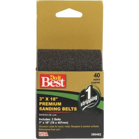 Do-It-Best (DIB_380482) 3in x 18in Premium Sanding Belts 40 Coarse 2pk