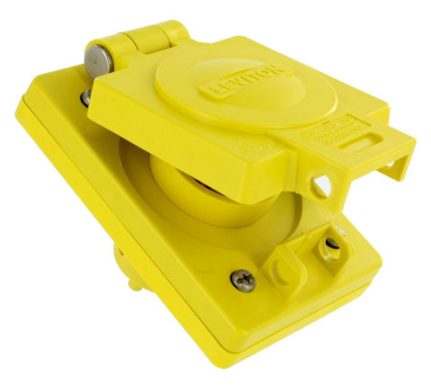 Leviton 90W04-S 15 Amp, 125 Volt, NEMA 1-15, 2P, 2W, Industrial Grade, Non-Grounding, Wetguard, Straight Blade Single Outlet, Yellow