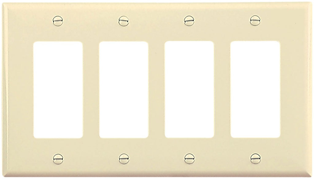 EATON Wiring PJ264A-SP-L Polycarbonate 4-Gang Decorator GFCI Mid Size Wall Plate, Almond