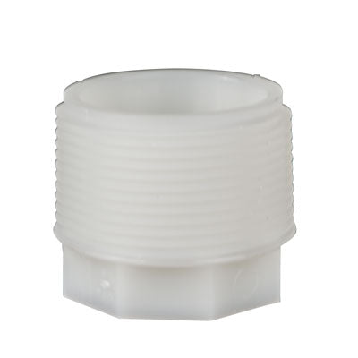 "Thogus Nylon Tub Fitting, Plug, White, 1-1/4"" MPT Male Pack of 5"