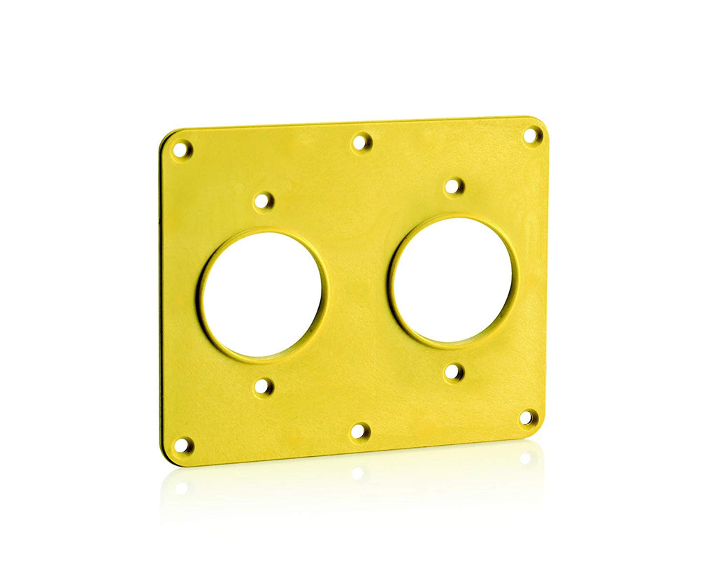 Leviton 3263-Y 2-Gang, 1.56-Inch Diameter Single Receptacle Coverplate, Yellow