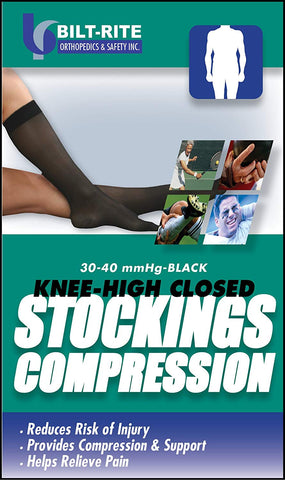 Bilt-Rite Mastex Health 10-74000-MD Knee High Stockings, Black, Medium