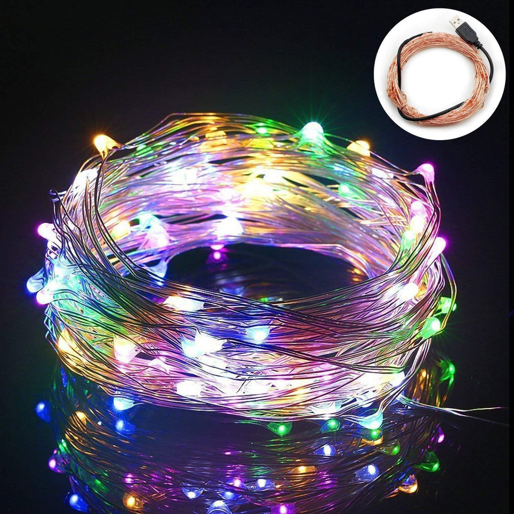 MEERACULA LED String Lights 100 Leds 33.3ft USB Powered Copper Wire - w/Remote