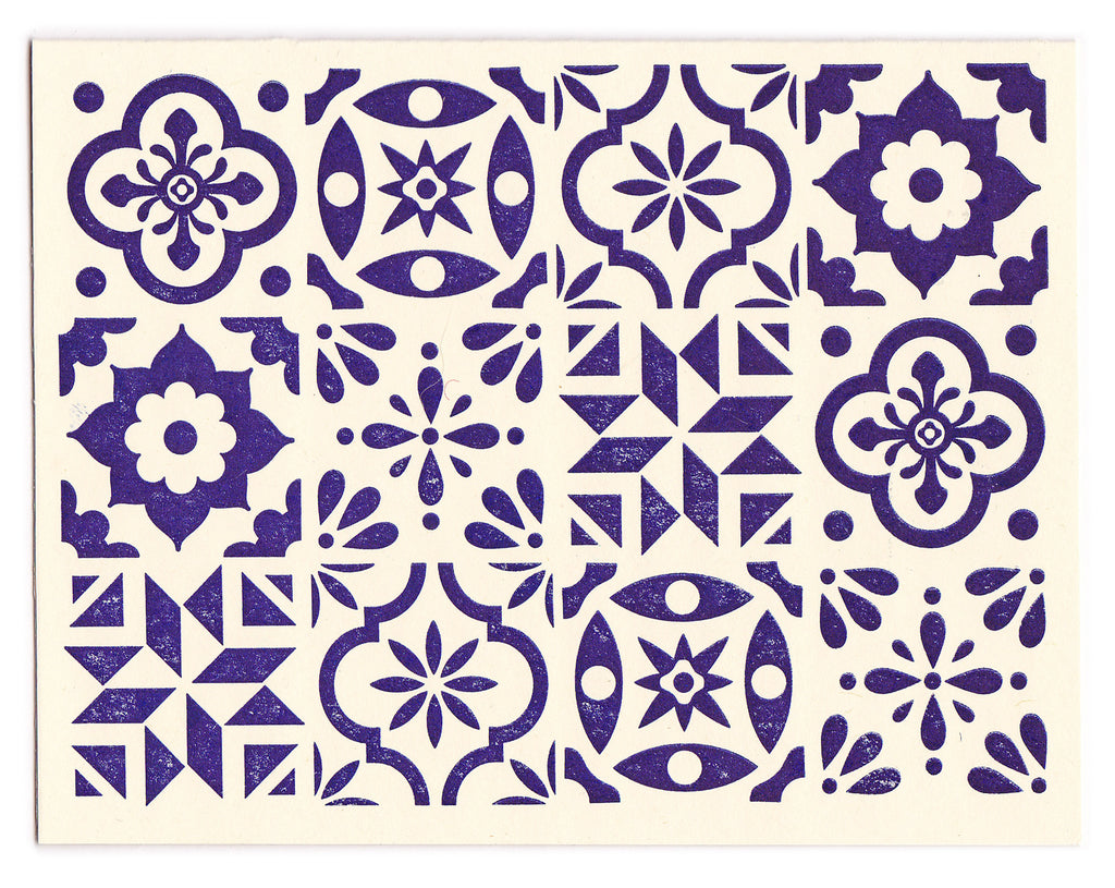 Blue & White Spanish Tile card design