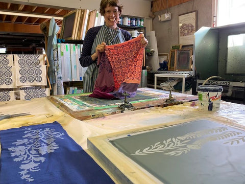 printmaker Eliza Jane Curtis at work in her Maine silkscreen studio - Morris & Essex textiles, handmade in Maine