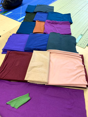 colored bamboo fabric in blue, purple, beige and green