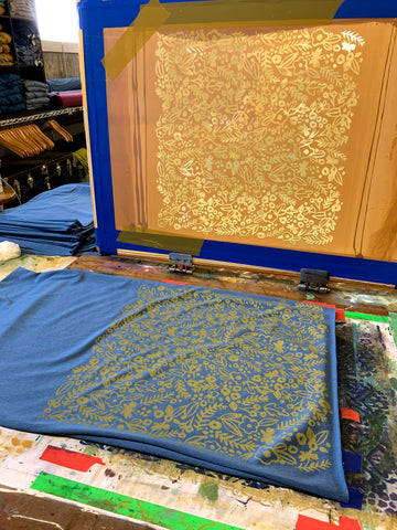 textile studio, silkscreen pattern with blue scarves
