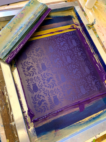 silkscreen with squeegee, purple ink and owl pattern