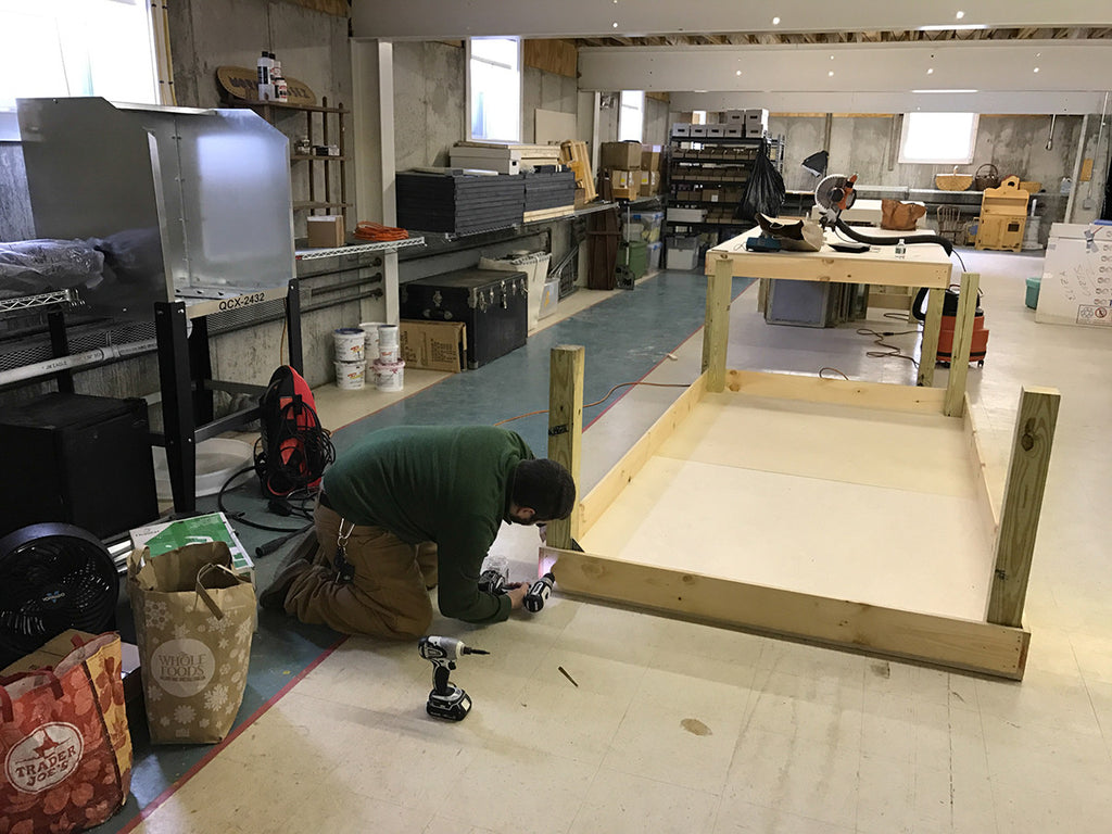 building new tables at the studio