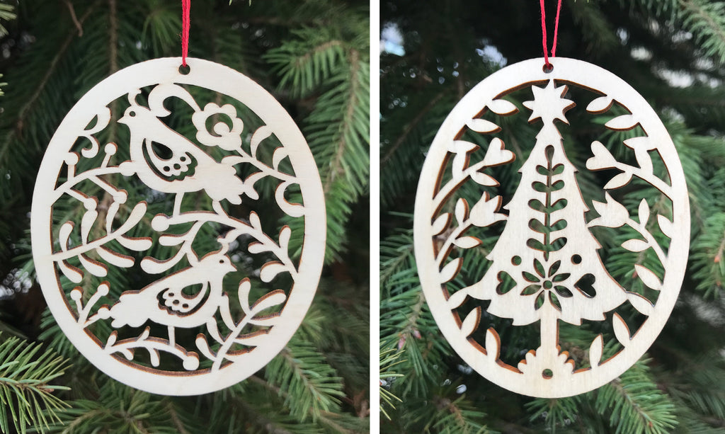 Natural Birch Wood Christmas Ornaments