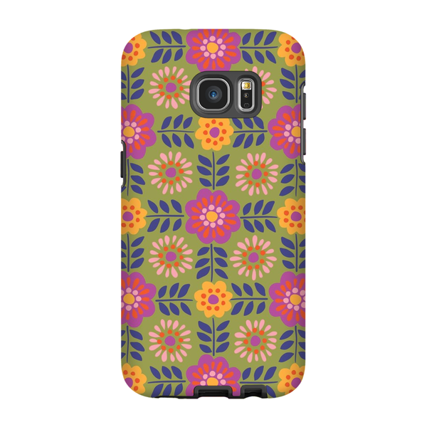 Tough Phone Case - Barcelona Flowers Pattern
