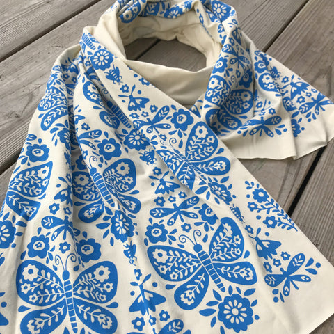 hand-printed scarf with blue butterfly pattern, handmade in Maine by Morris and Essex