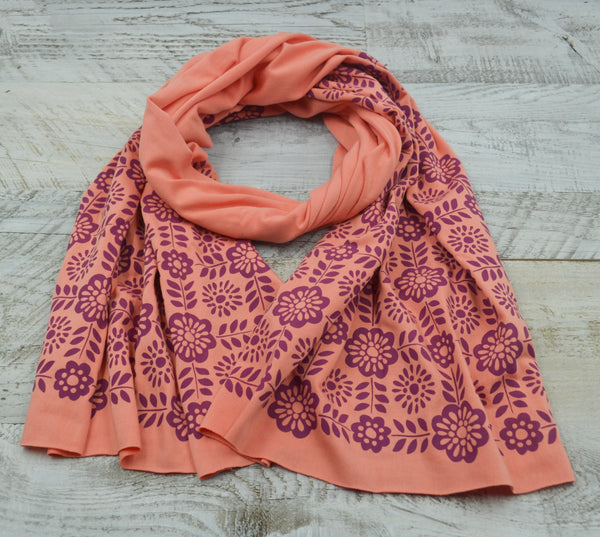 hand-printed coral scarf with geometric tile pattern, handmade in Maine by Morris and Essex