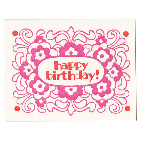 Birthday Flowers card, blank inside