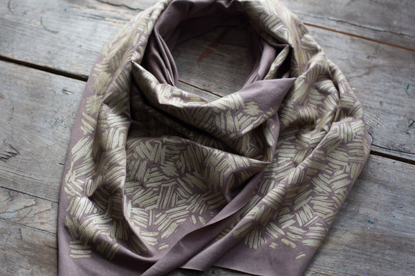 hand-printed scarf with gold brush strokes pattern, handmade in Maine by Morris and Essex