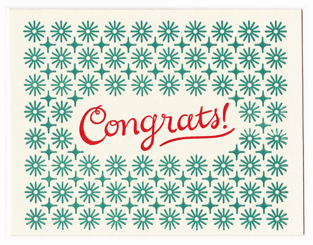 Wholesale - Congrats letterpress greeting card, blank inside - MEGC-0108/MEGC-0109