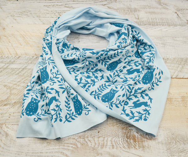hand-printed scarf with woodland blue owl pattern, handmade in Maine by Morris and Essex