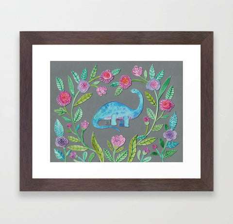 Flora the Dinosaur - Framed Print