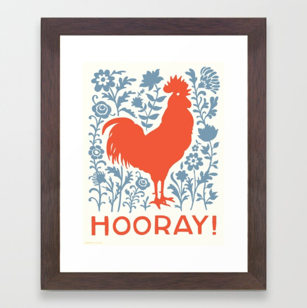 Hooray Rooster Framed Print