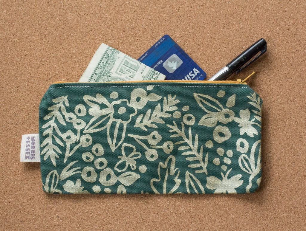 canvas zipper pouch, watercolor floral pattern hand-printed in forest green and gold ink