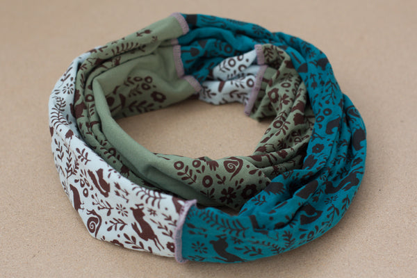 Hand-Printed Infinity Scarf - Green & Blue Woodlands