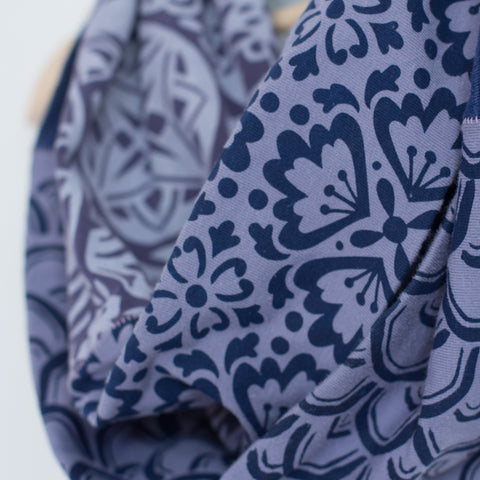 Sustainable Collection: Hand-Printed, Recycled Infinity Scarf - Shades of Blue Pattern Scarf