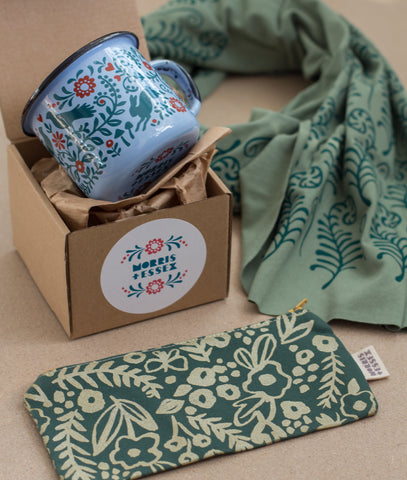 Wild Woodlands Holiday Gift Set - Enamel Mug, Hand-Printed Fern Scarf, and Organic Cotton zipper pouch