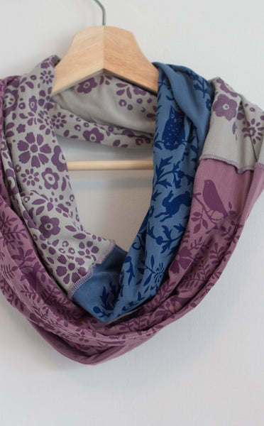 Hand-Printed Infinity Scarf - Purple Songbirds, Flowers & Owls - Handmade in Maine