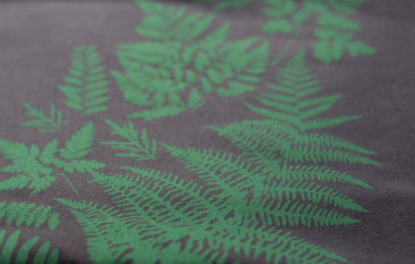 Hand-Printed Infinity Scarf - Pressed Ferns, Birds & Woodlands