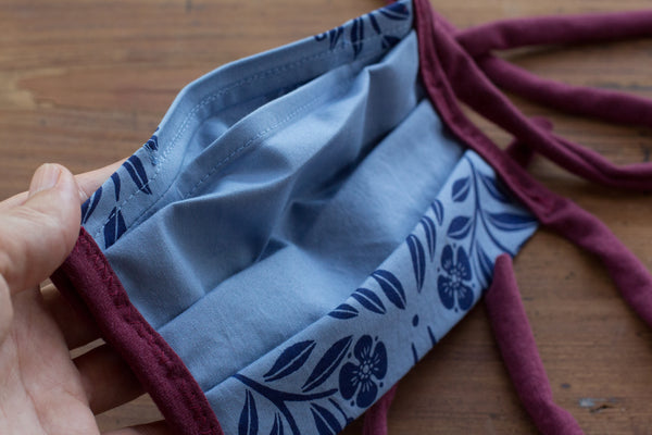Blue Bramble Hand-printed cotton mask - washable, reusable, with filter pocket