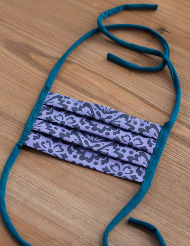 Purple Tile Hand-printed cotton mask - washable, reusable, with filter pocket