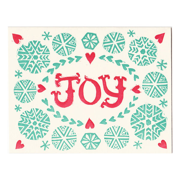 JOY holiday christmas card, letterpress card made in Maine by Morris & Essex