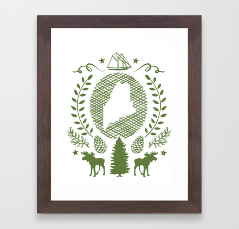 Maine State Framed Print