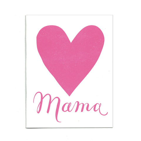 Mama Love letterpress card, blank inside.