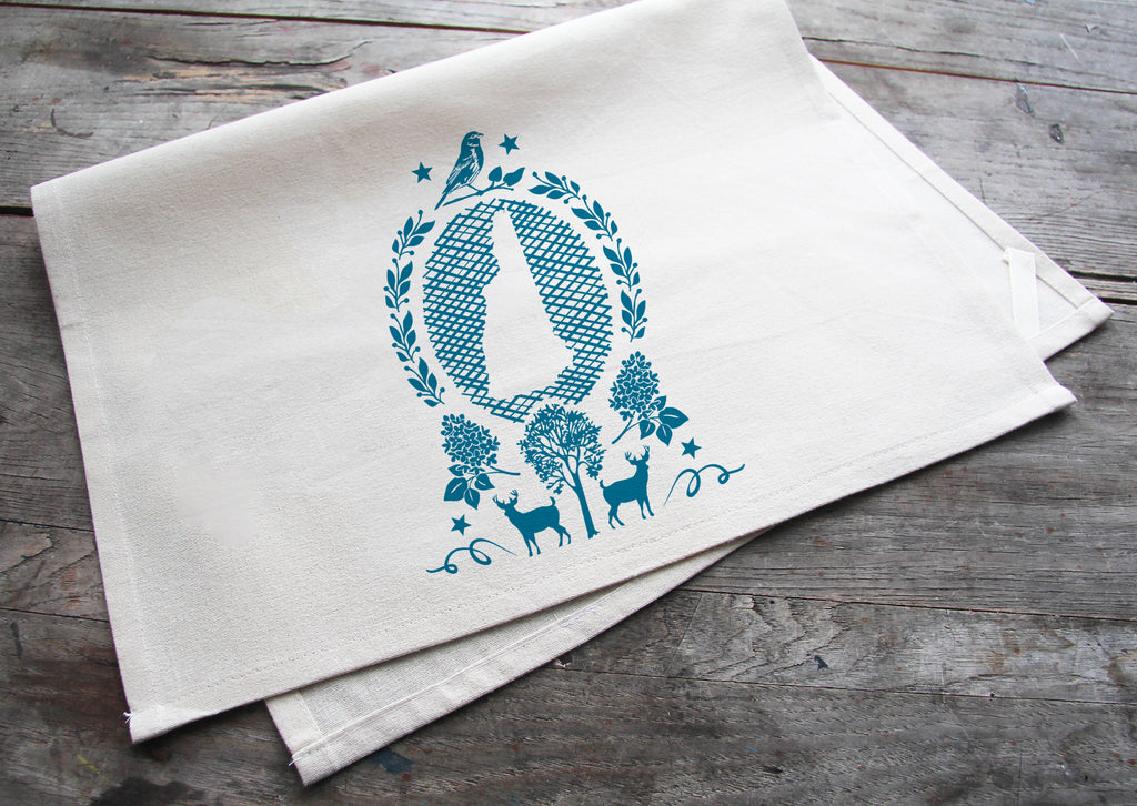 Hand-Printed New Hampshire State Cotton Tea Towel with hanging loop