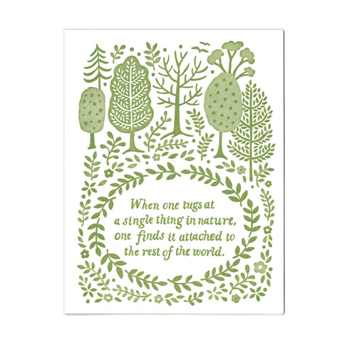 Nature letterpress greeting card, blank inside