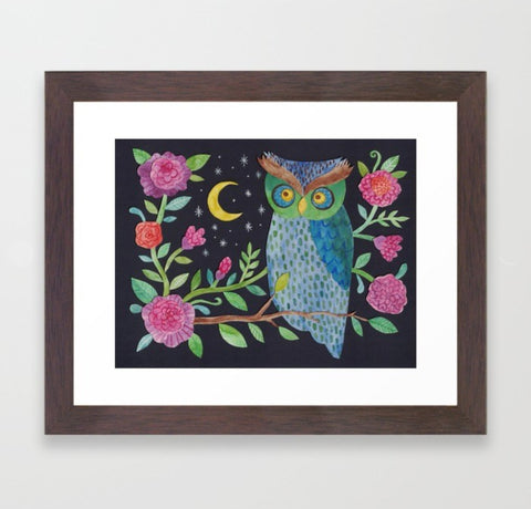 Orlie Owl's Night Garden - Framed Print