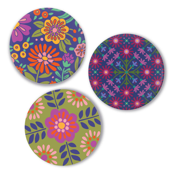Set of Three Pin-Back Buttons - Flower Patterns