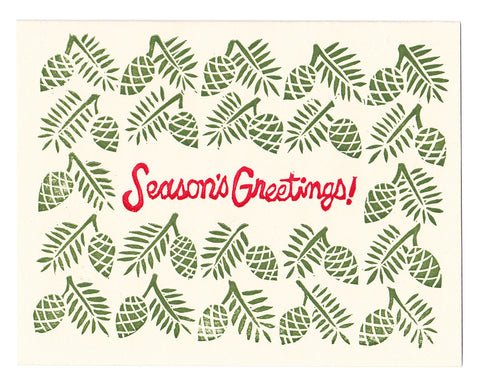 Season's Greetings block printed card, blank inside