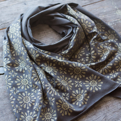 Charcoal grey bamboo scarf with hand-printed gold Asterisks pattern