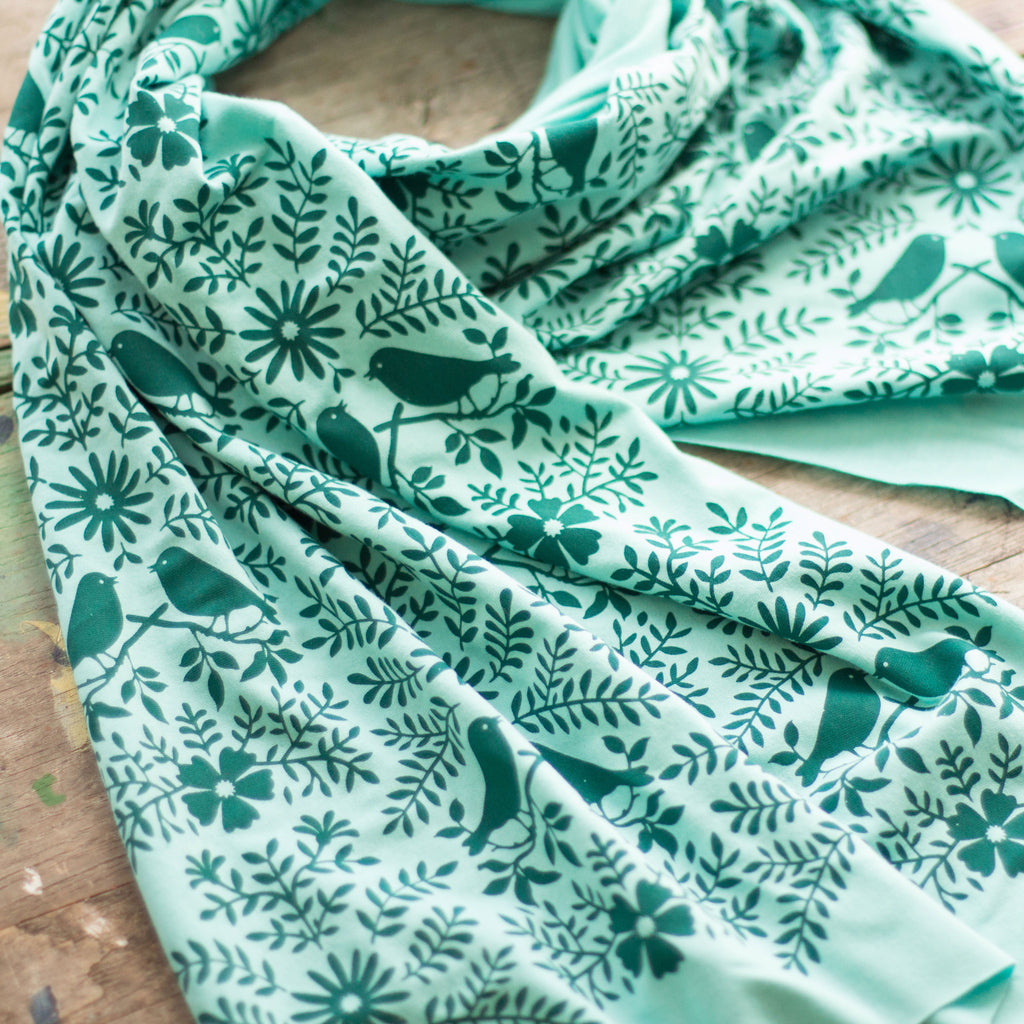Wholesale - Aqua Green Bamboo Jersey Birdwatching Scarf