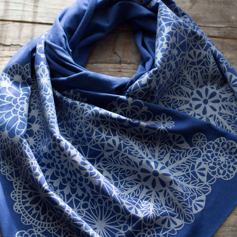 hand-printed scarf with blue and silver snowflake pattern, handmade in Maine by Morris and Essex