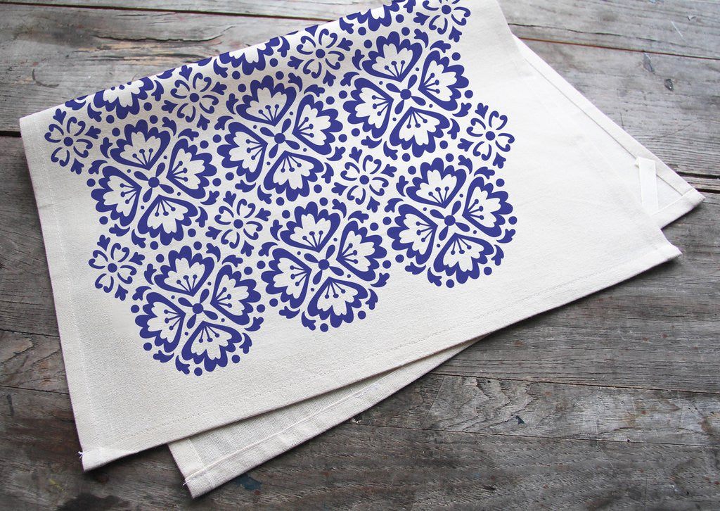 Wholesale - MEP-0023 Hand-Printed Blue Spanish Tile Cotton Tea Towel with hanging loop