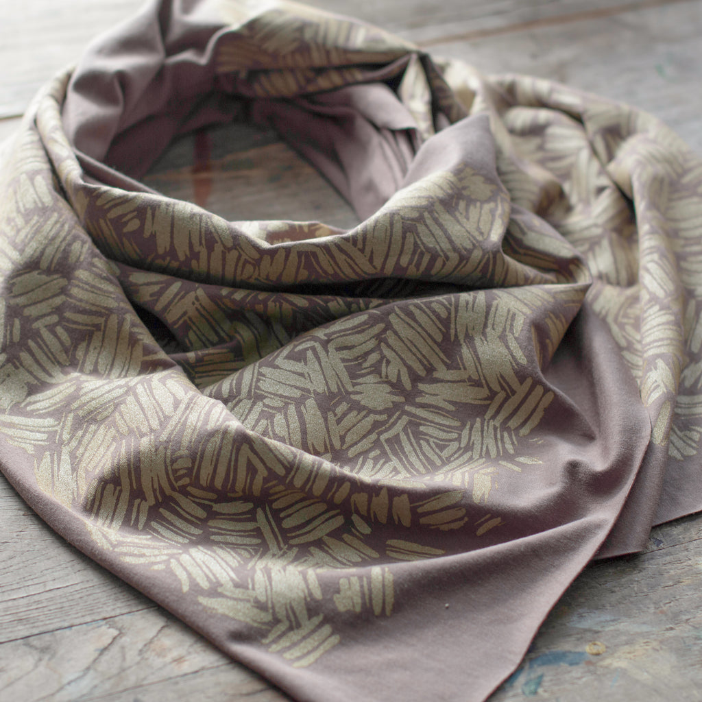 Neutral grey bamboo scarf with hand-printed gold Brushstrokes pattern