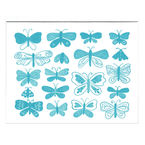 Blue Butterflies greeting card, blank inside