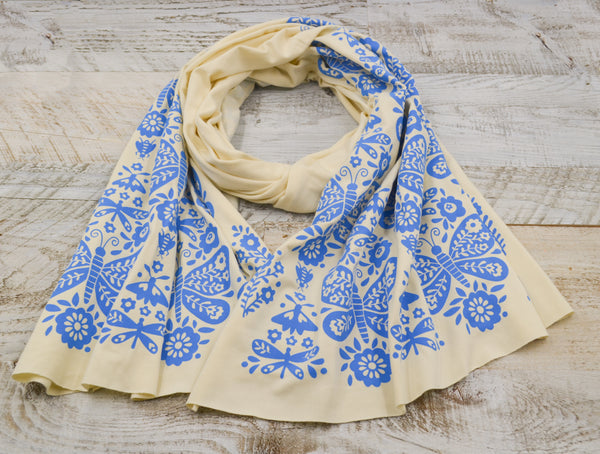 Soft natural bamboo scarf with hand-printed Butterflies pattern.