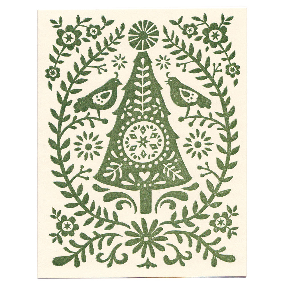 Wholesale - Folky Christmas Tree holiday greeting card, blank inside - MEGC-0098/MEGC-0099