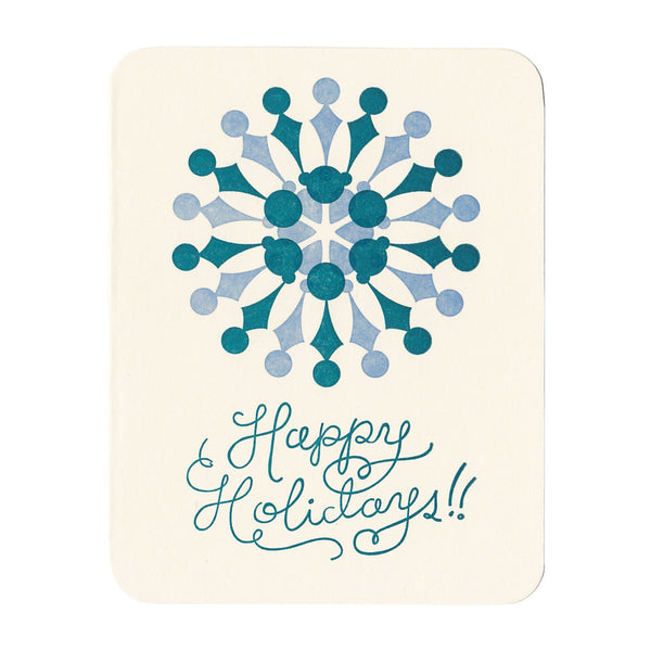 Happy Holidays snowflake christmas card, letterpress card made in Maine by Morris & Essex
